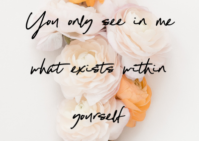 You only see in me what exists within yourself (free lesson in Consciousness)
