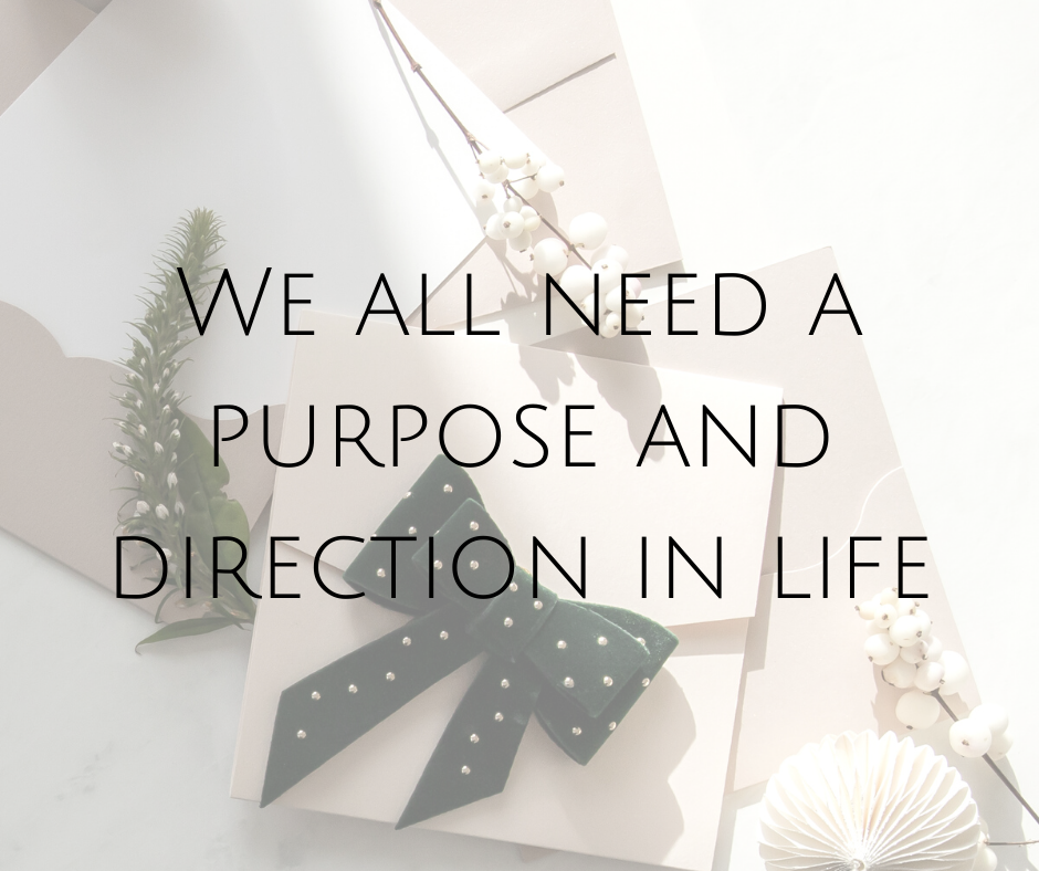 We all need a purpose and direction in life