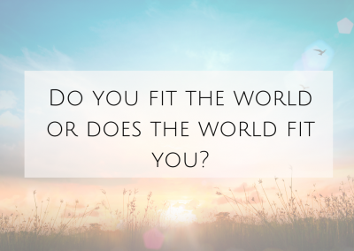 Do You Fit The world or Does The World Fit You?
